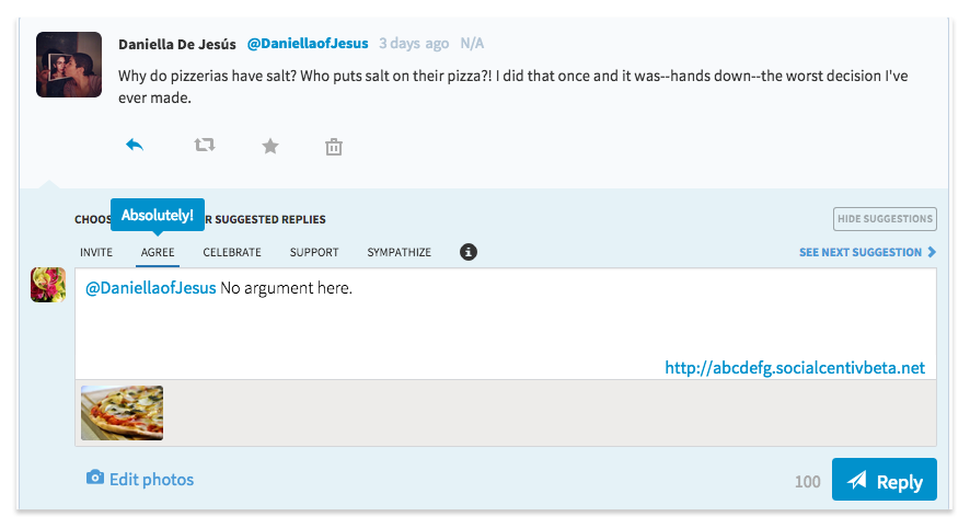 example of suggested replies in SocialCentiv Twitter Marketing Software