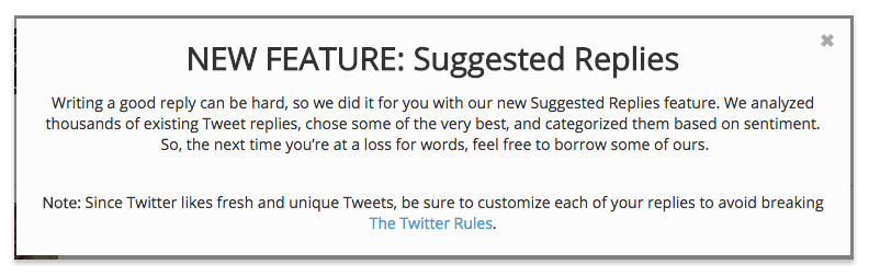 new feature suggested replies in SocialCentiv