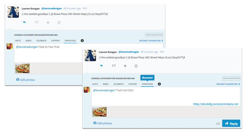 Many Suggested Responses in SocialCentiv Twitter Marketing Tool