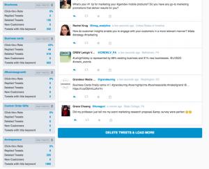 SocialCentiv keyword dashboard screen shot