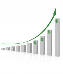 business graph with dollars