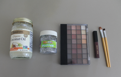 (From left to right): Coconut Oil, Glitter, Eye Shadow Palette, Lip-gloss, and Brushes