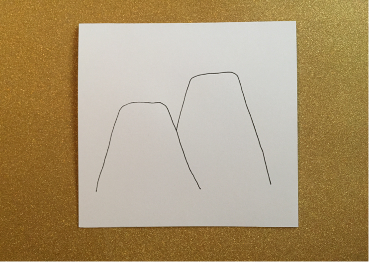 First, draw two shapes that resemble a mountain with a flat top.