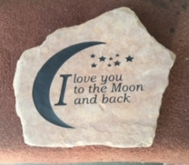 Rock engraved Love You to the Moon