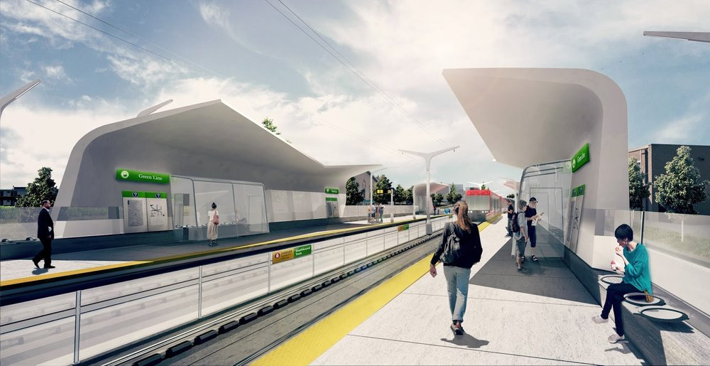Green Line LRT Station. Construction on Stage 1 is set to begin in 2020 and work has begun to develop technical documents that will guide construction. -