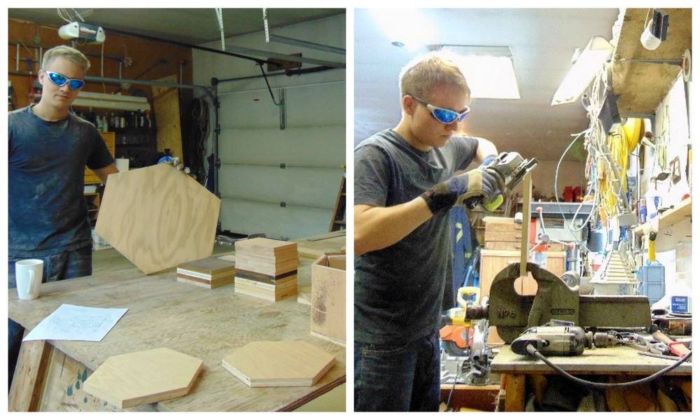 Sawing the boards and grinding off the ends to form the appropriate angles.
