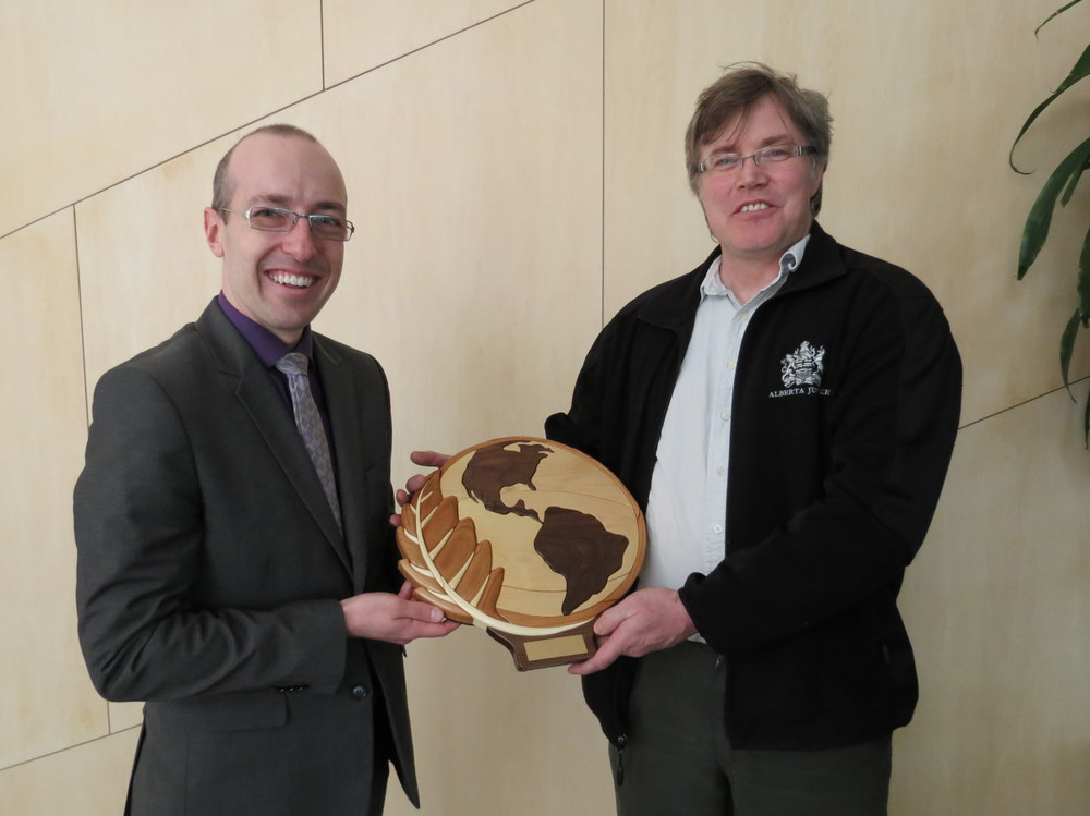 Councillor Andrew Knack presented the award to Ian Sprague of Meika's Birdhouse at City Hall on Earth Day, April 22, 2016.