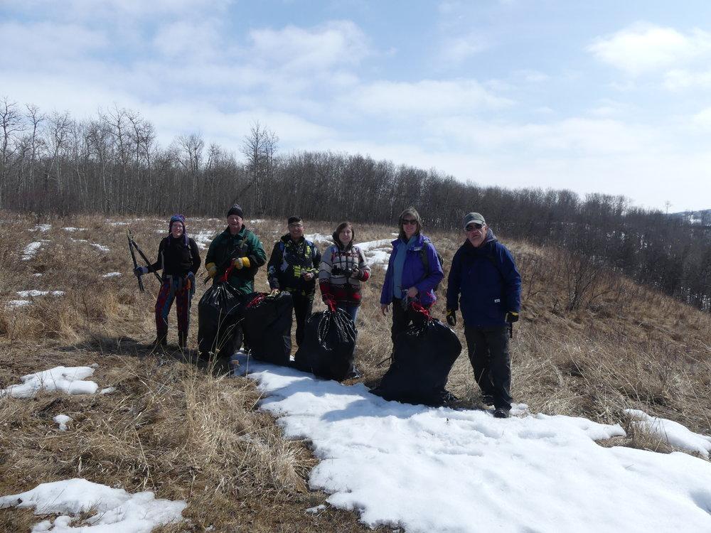 Volunteers removed 4 bags of black knot fungus from Pipestone Creek