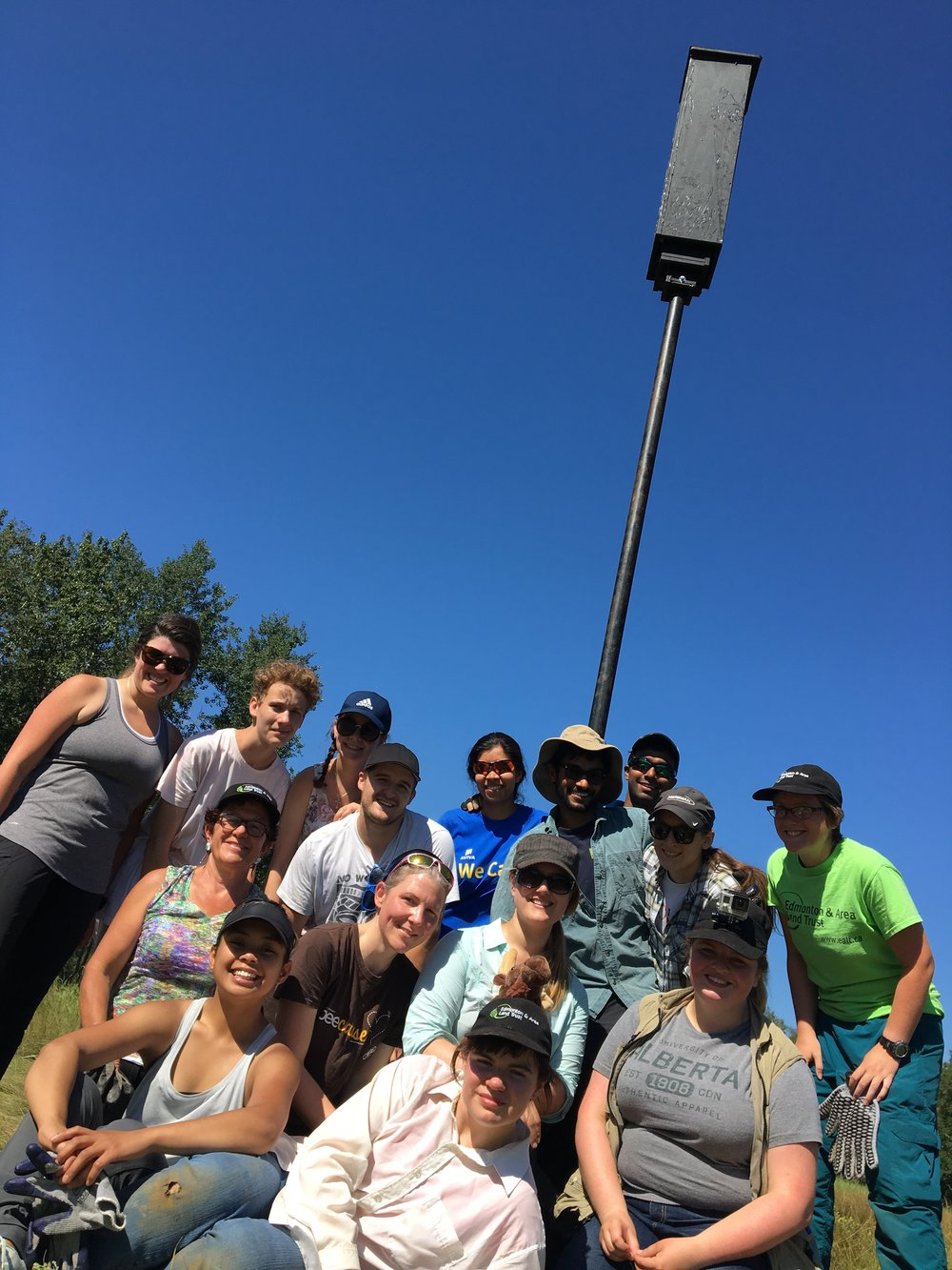 Volunteers with a bat box at Bunchberry Meadows