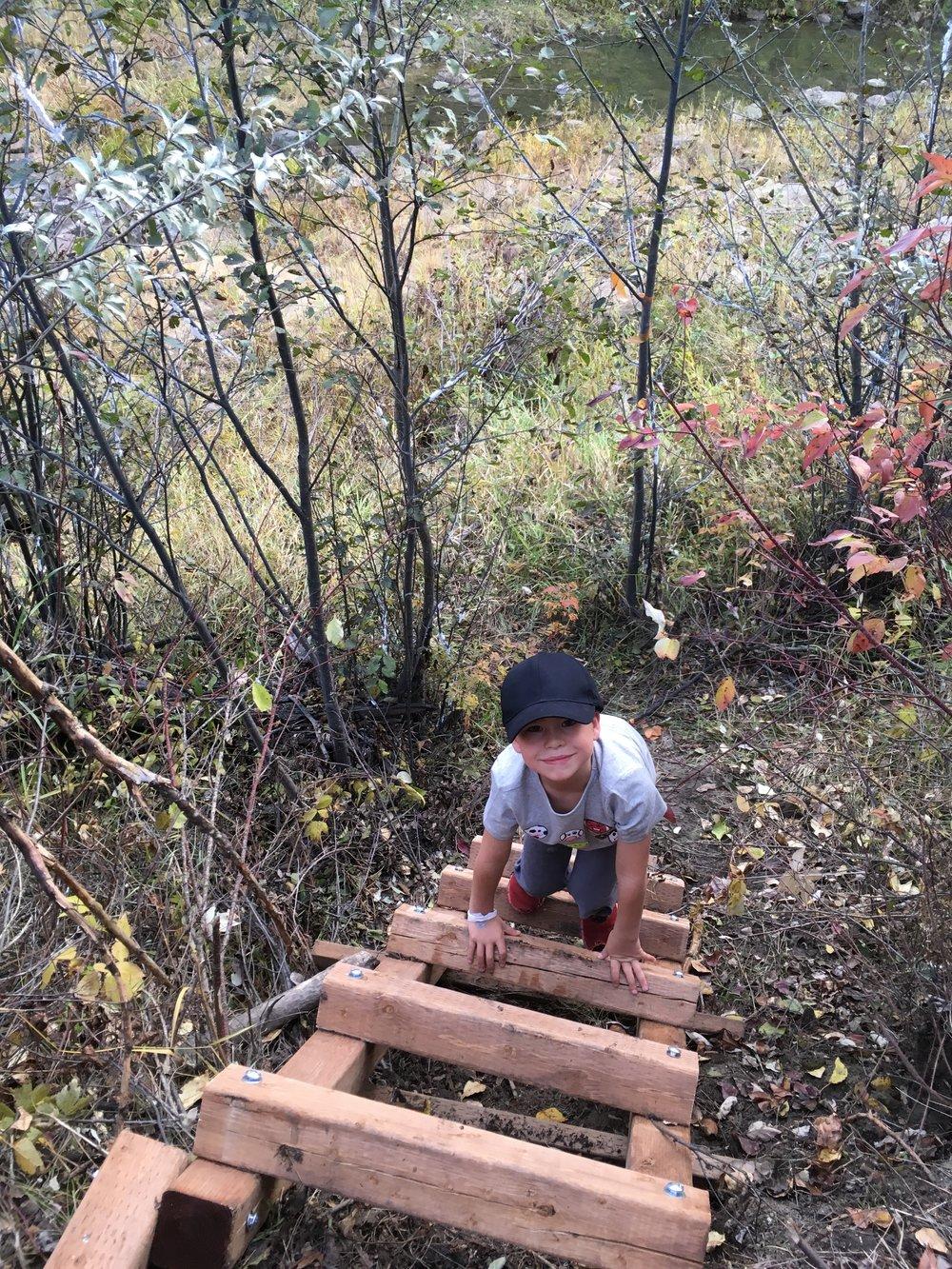 Family member of Ethel Coates testing the new ladder