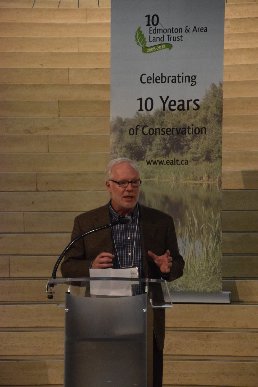 John Acorn speaking at EALT's 10th Anniversary Gala