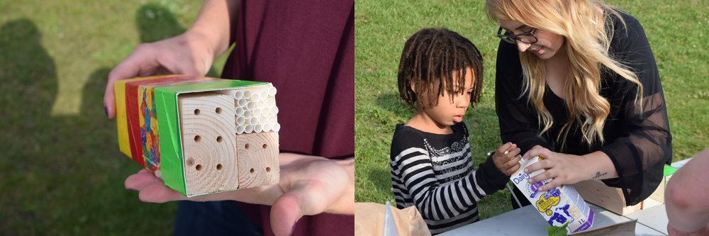 Left:  A decorated milk carton fitted with paper straws and wooden blocks drilled with holes inside make up a simple bee hotel.   Right:  This girl is making a bee hotel from a milk carton at a local workshop.
