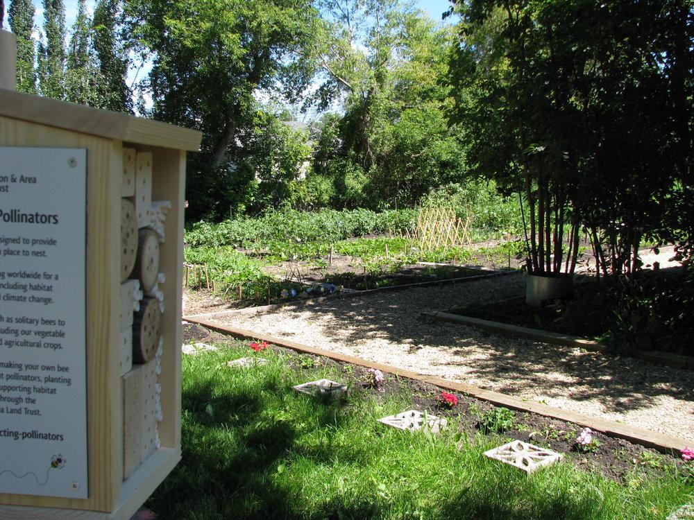 Large bee hotel installed at a community garden in Edmonton, Alberta.