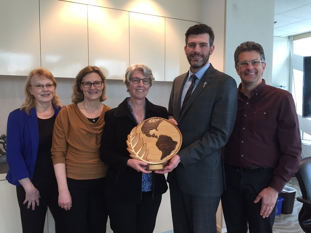 2017 Earth Ambassador Award presented by Mayor Don Iveson to Wild Birds Unlimited