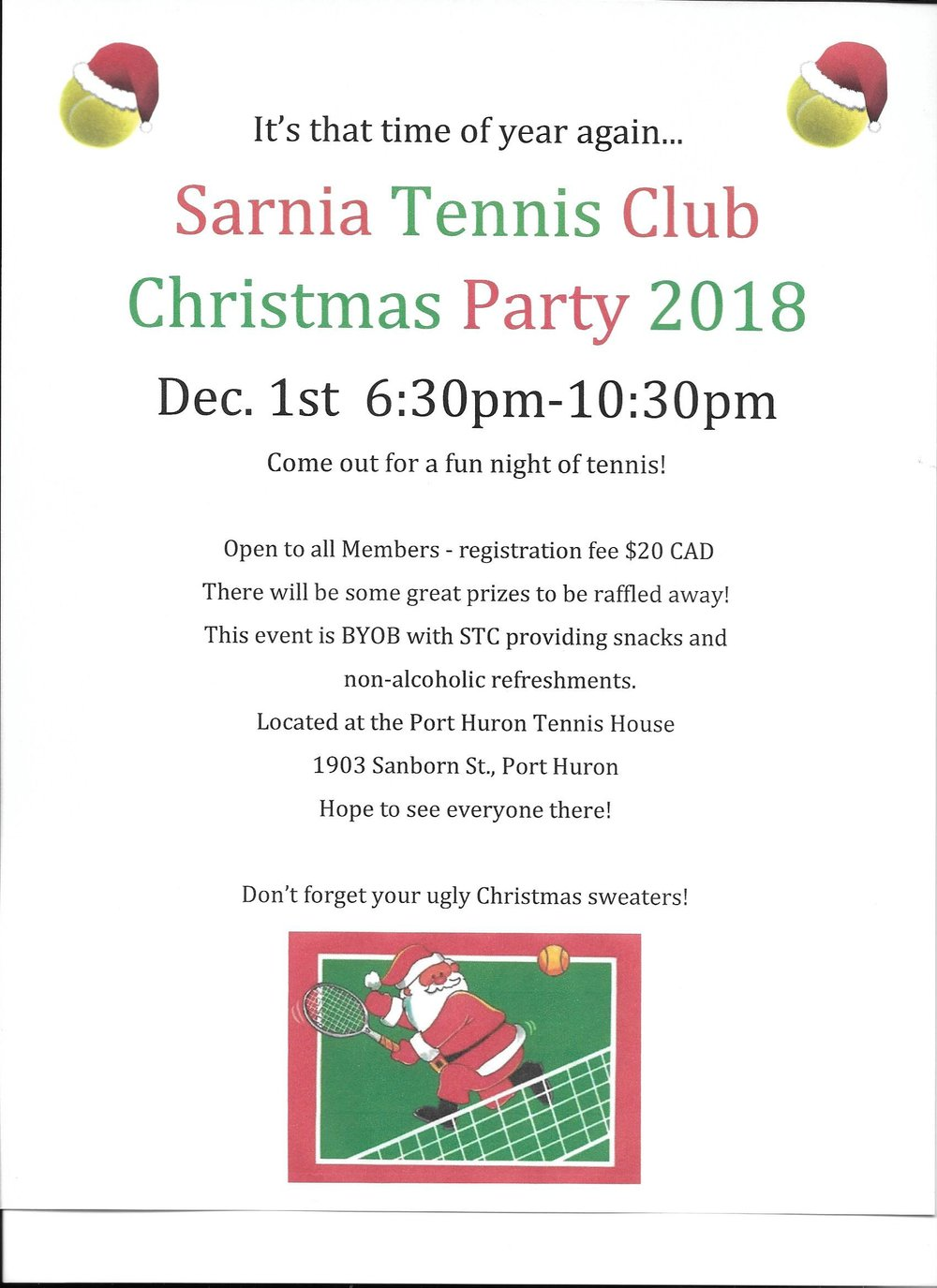2018 Events — Sarnia Tennis Club