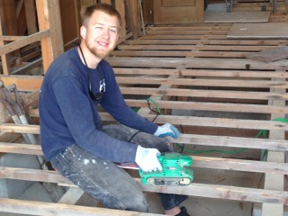 Nick de Ru: feels good just to sit and sand the joists