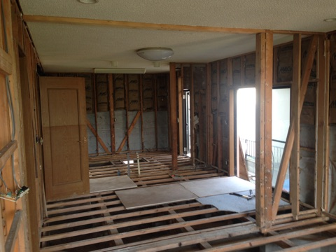 Kitchen and eating area- stripping accomplished