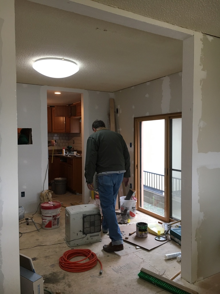 Eating area and kitchen with walls, subfloors, and cabinets