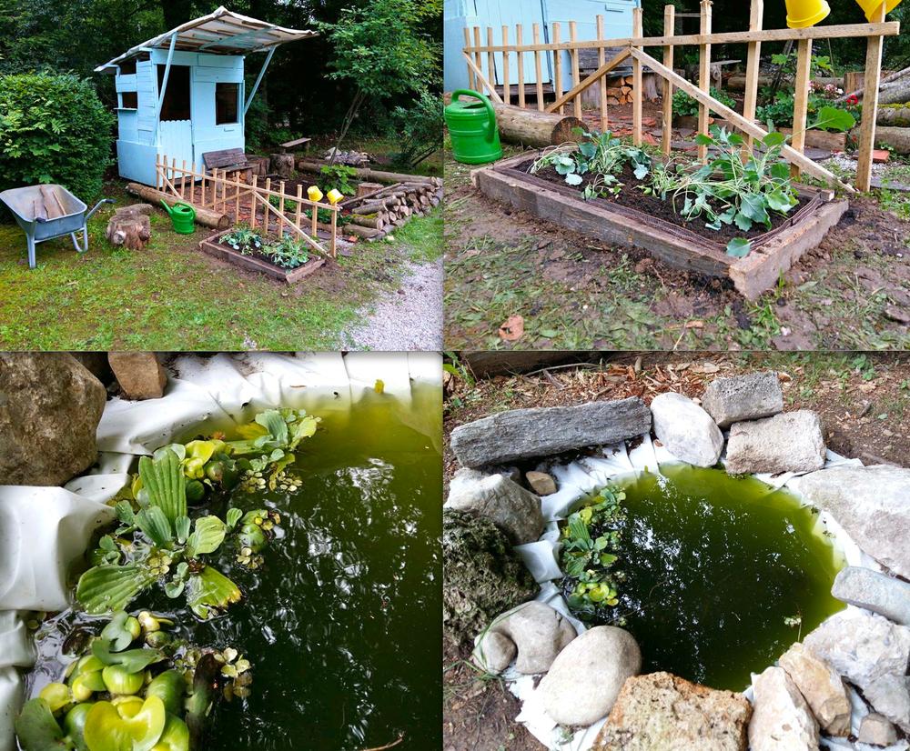 """""""Miniland"""" Projekt, Juni 2016: In unserem kleinen Miniland haben wir gerade Gemüse angepflanzt, noch einen kleinen Zaun gebaut und 501 Kaulquappen adoptiert, die jeden Abend von unseren Bürgermeistern, Pascal & Celina, auf Anwesenheit gezählt werden :)"""