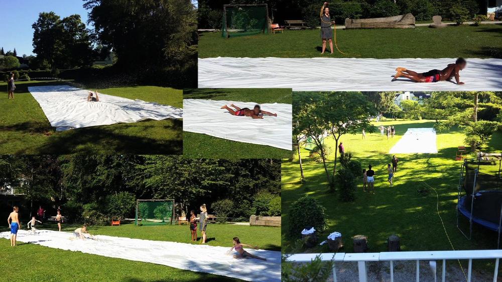 Endlich...der Sommer ist da. Wir haben gleich unsere berühmte Wasserrutsche aus dem Schuppen geholt - wie jedes Jahr, das Wasser angedreht und los ging der Spaß;)