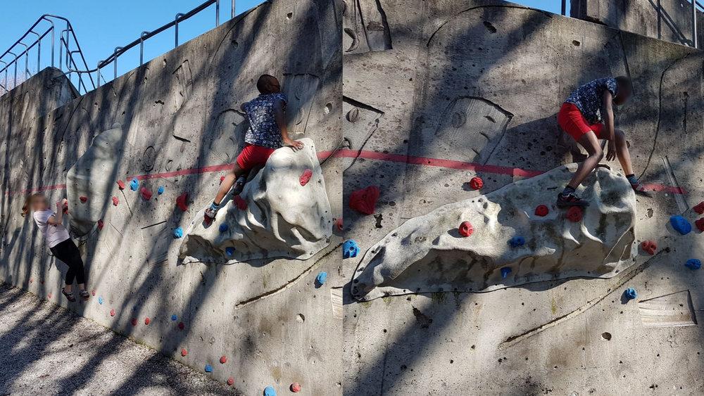 Der Frühling ist da, und und wir können endlich wieder draussen Bouldern: klettern ohne Seil bis zu einer Höhe aus der man noch abspringen kann.