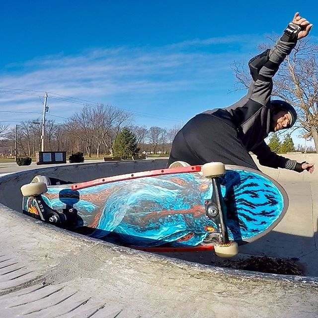 Looking outside at the snow covered ground, I'm sure happy I took advantage of the warmer weather the past couple of weeks! Three different skateparks... same trick!!! I definite have a long way to go in 2019... but I'm loving every minute! Have a great day!