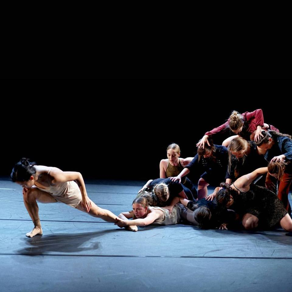 Jessica Liu (left) and members of SALT II in Lindsey Matheis'  Chimera . Photo by Kylee Gubler.