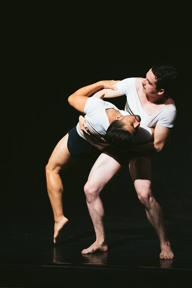 "Keith Johnson/Dancers' Alvaro Nunez and Andrew Palomares in ""Sea of Possibilities"". Photo by Motion Vivid."
