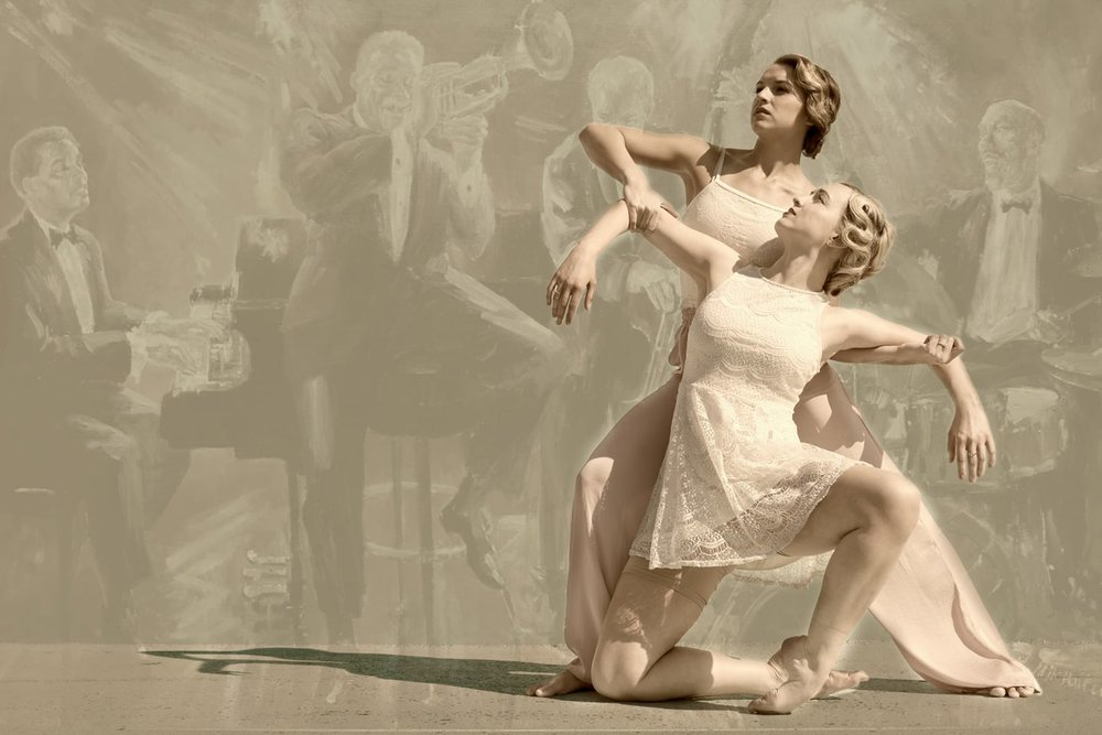 Photo of Angela Green (front) and Natalie Barnes Jones by MotionVivid, courtesy of Wasatch Contemporary Dance Company.