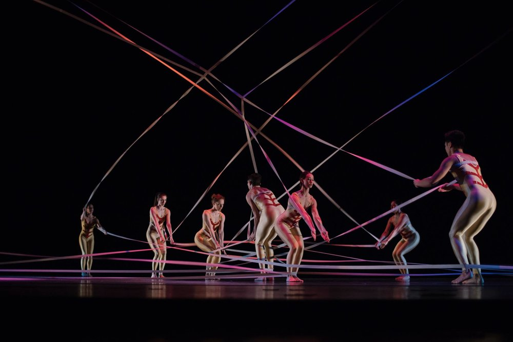 "Ririe-Woodbury Dance Company and guest artists in Alwin Nikolais's ""Tensile Involvement"" (1955). Photo by Tori Duhaime."