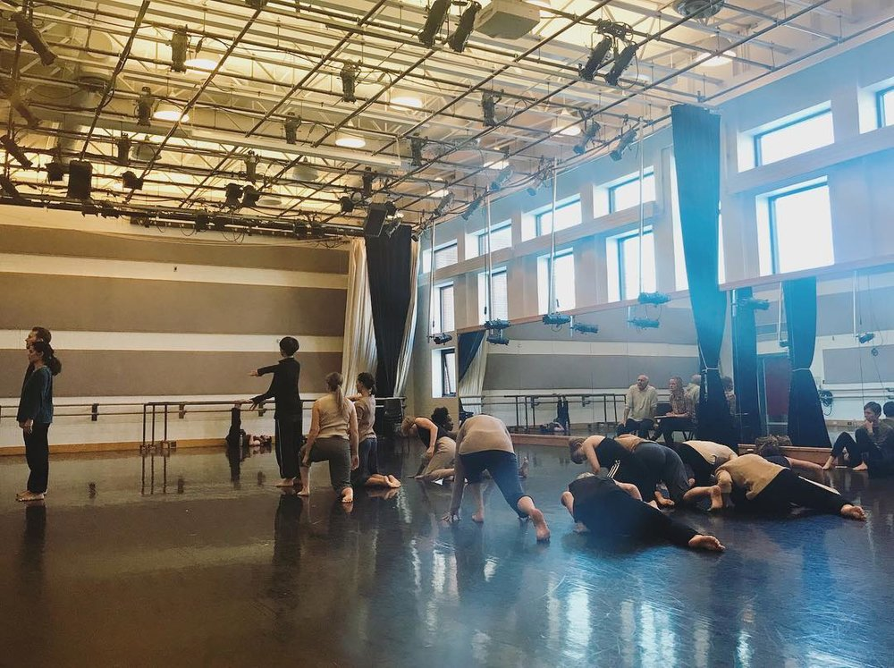 Doug Varone and Dancers in rehearsal at the University of Utah, with students from the School of Dance
