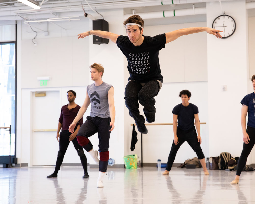 Ballet West artist Joshua Shutkind rehearsing Natalie Weir's  Jabula . Photo by Beau Pearson.