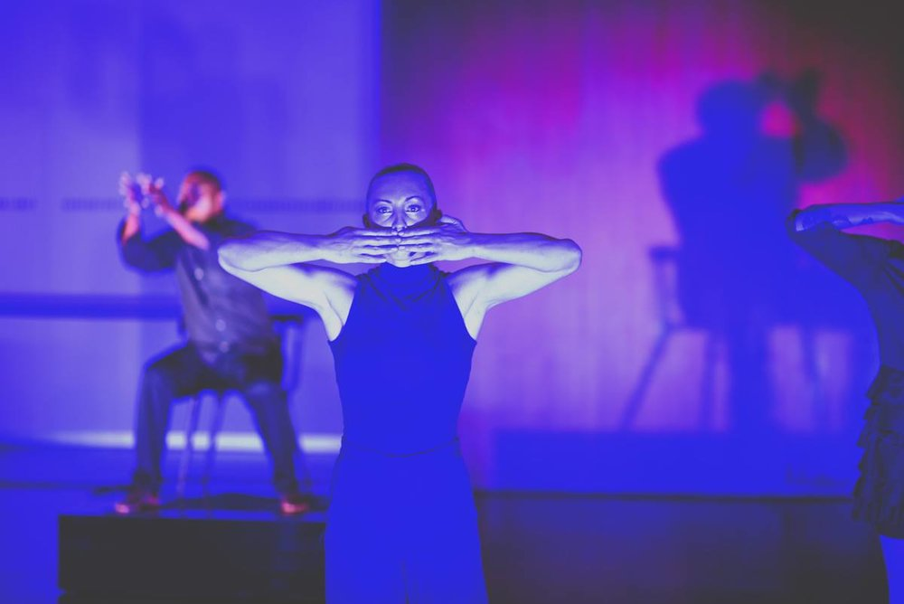 Sydney Petitt (foreground) and Walter Kadiki (background) in NOW-ID's  A Tonal Caress . Photo by David Newkirk.