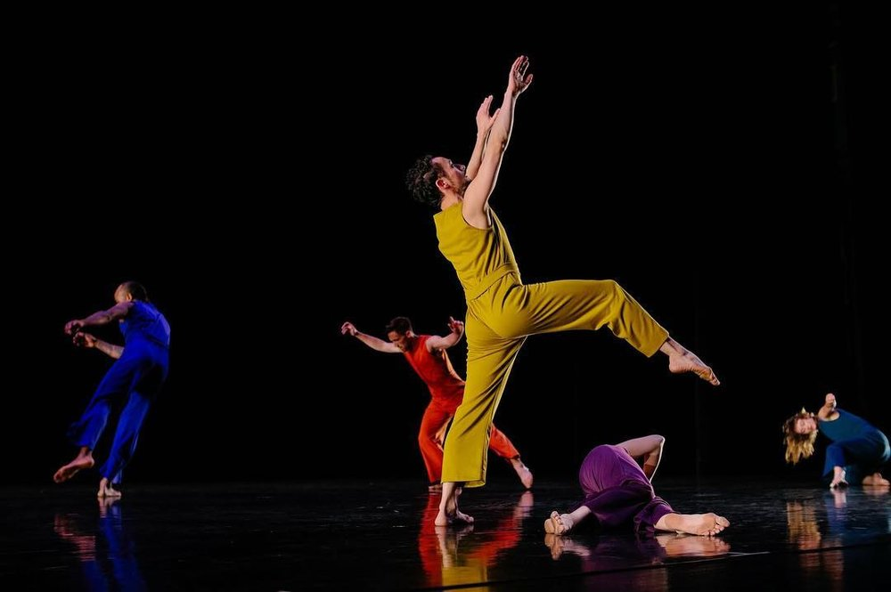 "Yebel Gallegos and dancers of Ririe-Woodbury in Daniel Charon's ""Construct."" Photo courtesy of Ririe-Woodbury."