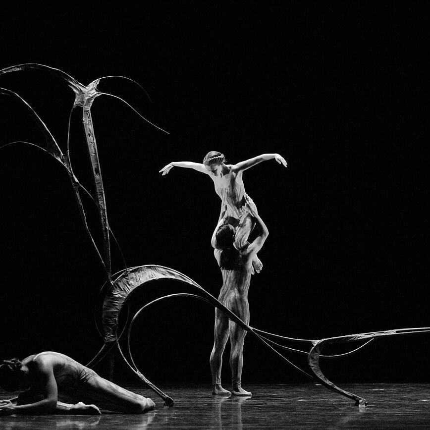 Corado lifts a fellow performer in  Tin Tal,  photo by Sharon Kain
