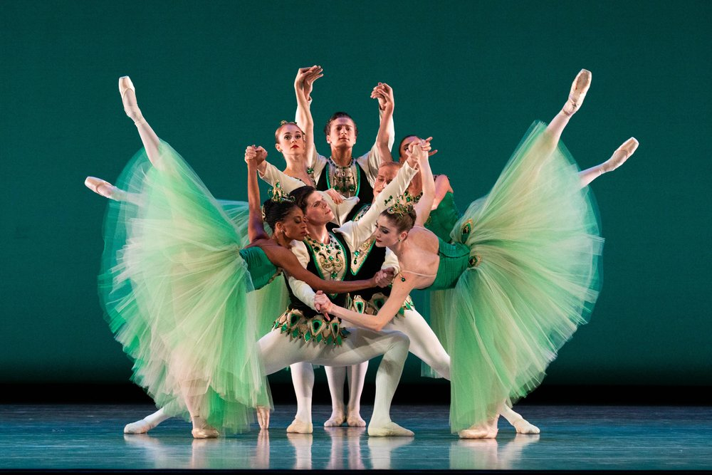 Artists of Ballet West in George Balanchine's  Emeralds . Photo by Beau Pearson.