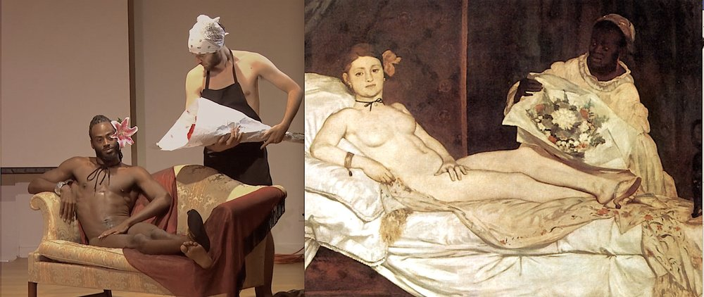Orlando Hunter takes the place of the white model in Ishmael's reimagining of Manet.
