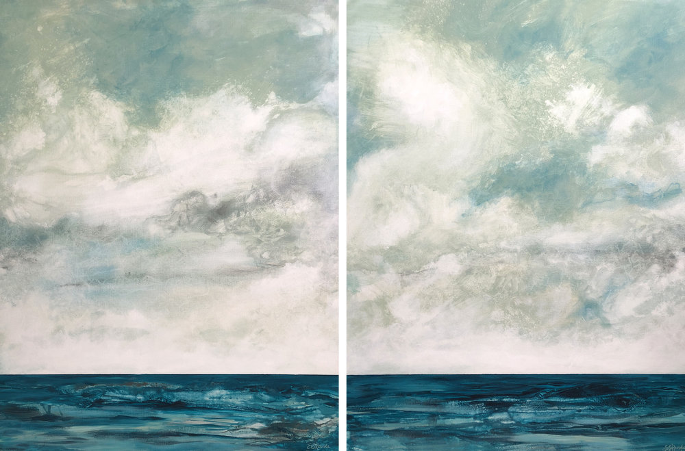"Praeludere l and Praeludere ll -  40"" x 30"" Diptych by Ericka O'Rourke. 2018"