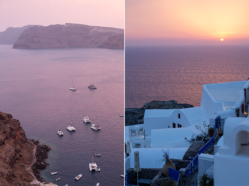 Since the streets in Oia can get so crowded during the sunset we decided to pop into a restaurant to take in the view.  It was certainly my favorite evening of the trip, with the gorgeous sunset, delicious food and my favorite company.