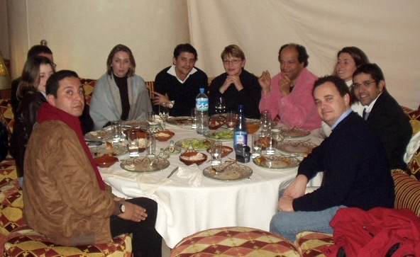 Members of planning team for feature film on the adventures of Ibn Battuta, Tangier, Morocco. From left: unknown, Fakhita Drissi (Ibn Battuta Productions), Mrs. Slimi, Said Taghmaoui (actor and producer), unknown, Rachid BenHadj (writer), unknown, unknown, Jean-Charles Levy (Forecast Pictures)