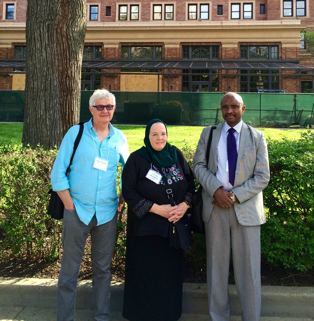 Alliance for Learning in World History, University of Pittsburgh, May 2015. From left: Ross Dunn, Susan Douglass (George Mason University), Ahmed Abushouk (Qatar University)