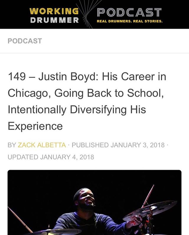 Today I'm featured on the @workingdrummerpodcast it also happens to be my birthday! Link in Bio!! Happy 2018!! #thebeatpusha #chicagojazz #stereogenius #recordingartist #producerlife #songwriter #workingdrummer #drummerslife