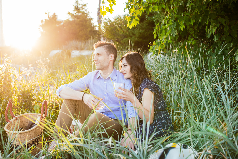 ^ As photographers, we are always chasing light!  Searching out the best spots, yearning for that beautiful backlit sunset goodness.  Darren and Lindsay's picnic engagement shoot had a beautiful golden sunset that lit them up in pretty amazing ways.