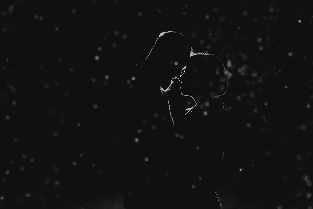 outdoors night portrait in the snow of wedding couple at nita lake lodge in whistler bc - victoria wedding photographers