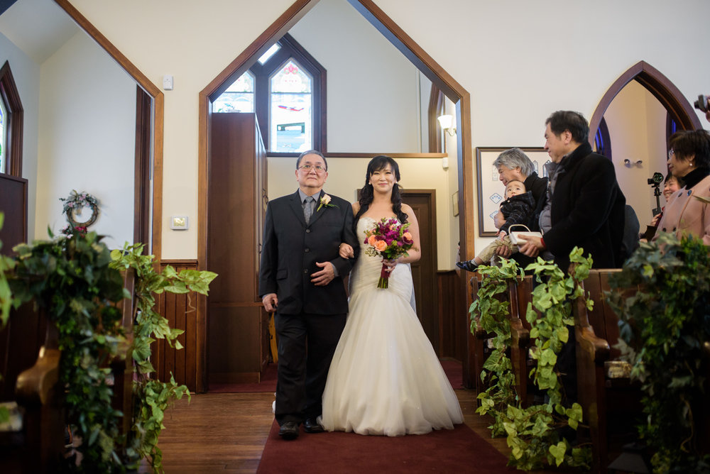 bride entering her wedding ceremony at minoru chapel in richmond - victoria wedding photographer