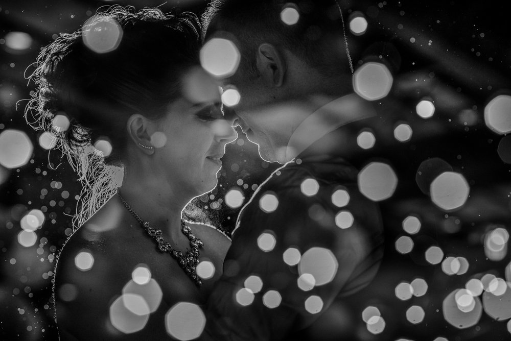 bride and groom in the dark at night at Whonnock Lake Centre in Maple Ridge - Victoria Wedding Photographers