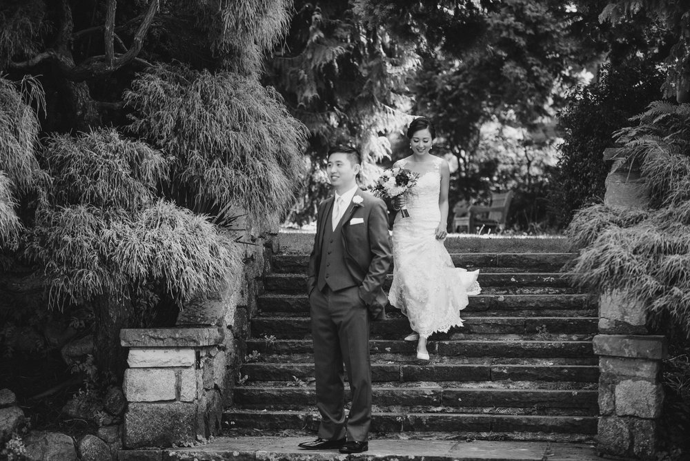 wedding first look at cecil green park house on ubc campus in vancouver - victoria wedding photographers