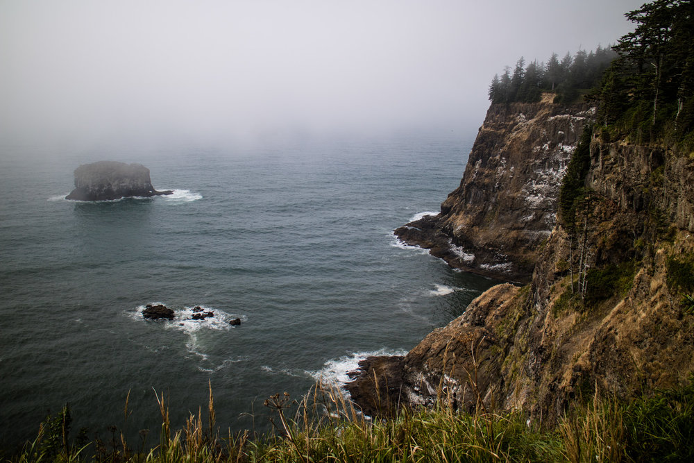 Foggy water out from the coast at Cape Meares.