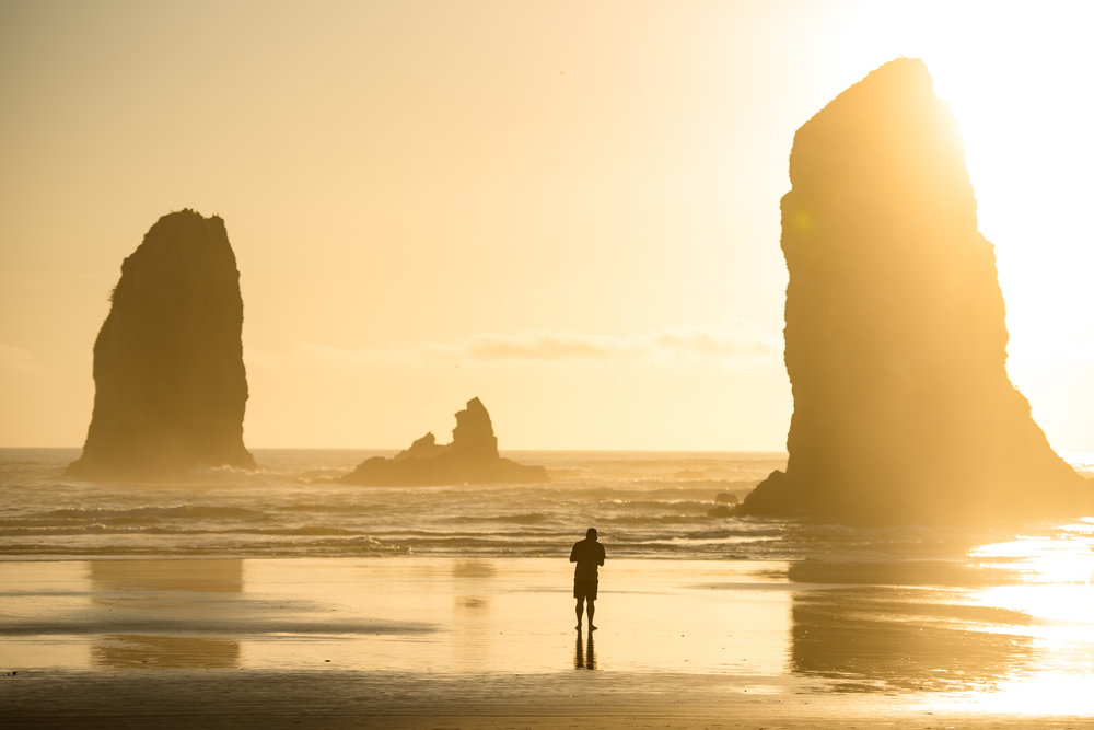 Larryn getting a snap shot close to sunset at Cannon Beach.