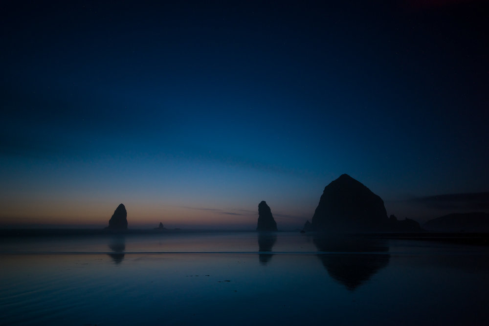 A long exposure post-sunset of the rocks at Cannon Beach.
